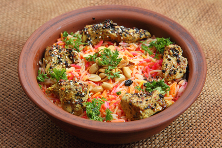 mideast: Middle East Arabic food. Mundy. Traditional Middle Eastern dish cooked with spices.