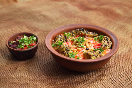 arabic food: Middle East Arabic food. Mundy. Traditional Middle Eastern dish cooked with spices.