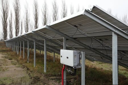 Installation of solar panels. Solar panel produces green, environmentally friendly energy from the sun.