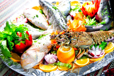 Fish platter with vegetables. Fish and vegetables.