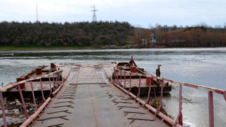 Border Ukraine - Moldova. Checkpoint Yampil - Koseuts. Ferry crossing on the Dniester river.