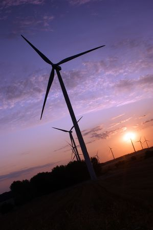 Wind turbines during sunset photo