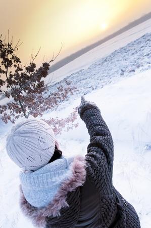 An image of girl enjoying winter walk photo