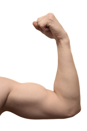 athletic arm on white background photo