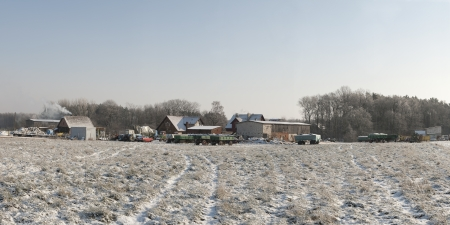 An image of farm in winter photo