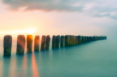 Colorful sunset at Baltic Sea Standard-Bild