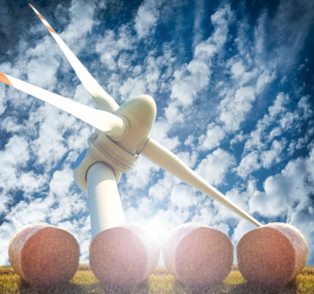 An image of three renewable energy. Wind, straw and sun photo