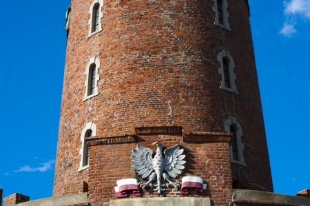 seconda guerra mondiale: Un'immagine di mattoni faro da seconda guerra mondiale in Polonia Kolobrzeg