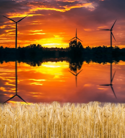 A silhouette of windturbines on a amazing sunset Stock Photo - 16288316