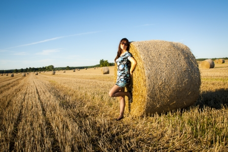 An image of brunette girl portrait and straw bale Stock Photo - 16253597