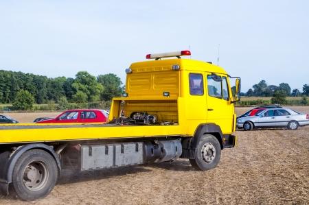 An image of orange emergency car  Foto de archivo