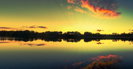 An image of amazing sunset at the lake photo