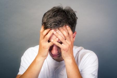 an image of upset young man Stock Photo