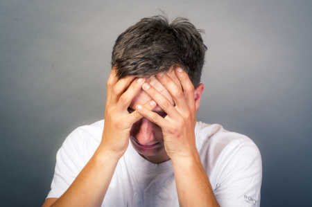 an image of upset young man Stock Photo