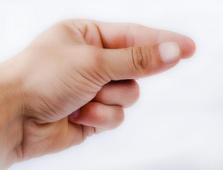 Een beeld van de menselijke hand op wit wordt geïsoleerd