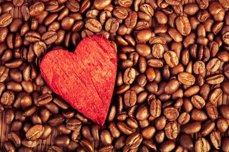 an image of coffee beans and red heart photo