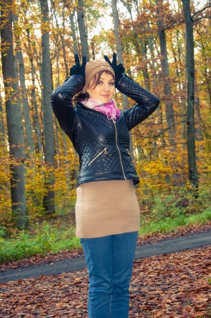 An image of girl standing in the forest during autumn Stock Photo - 16466964