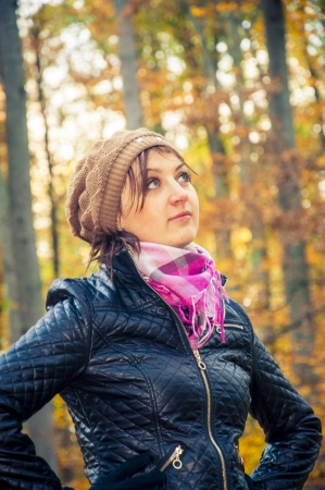 An image of girl standing in the forest during autumn Stock Photo - 16467003