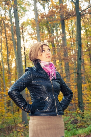 An image of girl standing in the forest during autumn Stock Photo - 16466959