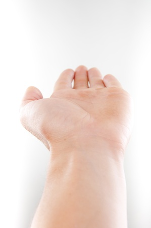 An image of open hand on white background Stock Photo - 16476823
