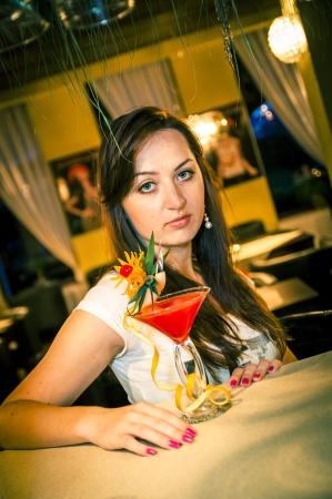 An iamge of girl in the bar Stock Photo