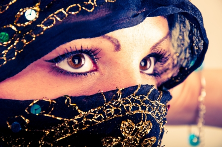 arab people: An image of muslim girl, studio shot Stock Photo
