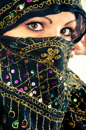 An image of muslim girl, studio shot photo