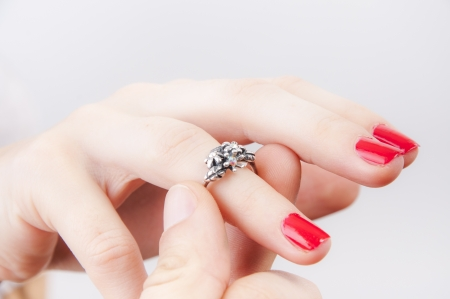 diamond ring: An image of Girl looking at engagement ring Stock Photo
