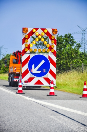 vibroroller: An image of road works Stock Photo