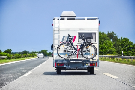 An image of camper on the highway photo