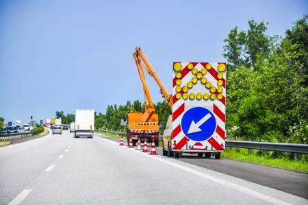 construction vibroroller: An image of road works Stock Photo