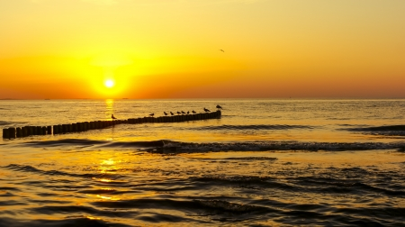 An image of sunset over baltic sea Stock Photo - 16931353