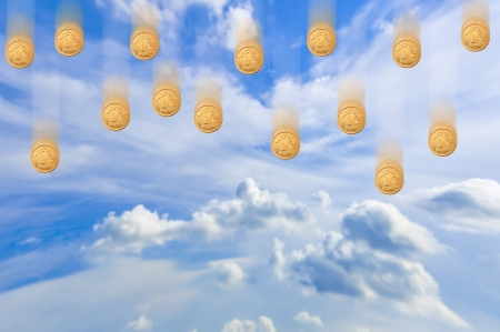 gr: An image of falling money from the sky Stock Photo