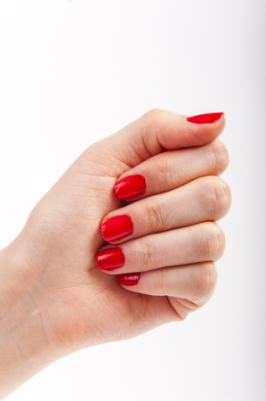 An image of female hand with red painted nails Stock Photo - 17293829