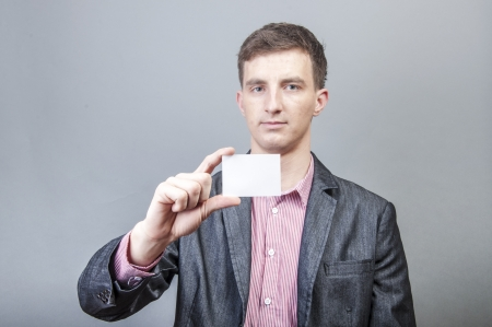 An image of businessmen holding blank card Stock Photo - 17287705