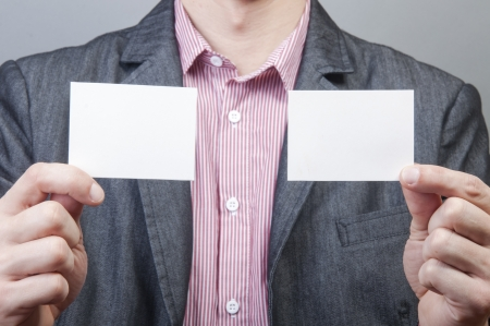 An image of businessmen holding blank card Stock Photo - 17287790