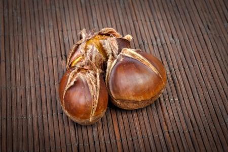 castanea sativa: An image of roasted chestnut marron isolated. Castanea Sativa