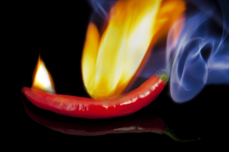 An image of red hot chilli pepper with flame photo
