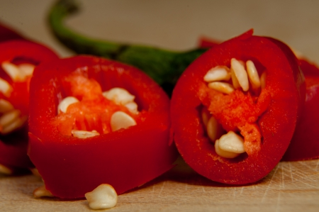 An image of sliced red chilli pepper photo