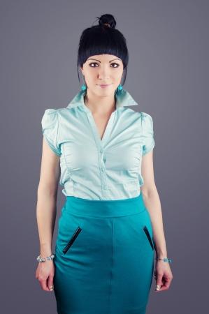 An image of smiling elegant brunette businesswoman photo