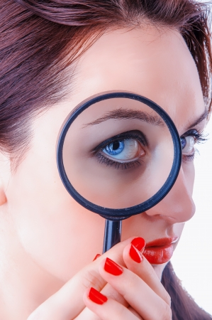An image of Women with magnifying glass over her lips Stock Photo - 17449412
