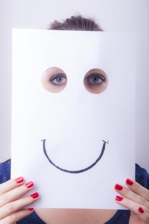 Ein Bild von Geschäftsfrau, die Papier mit ertrinken Emotionen Lizenzfreie Bilder