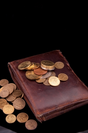 An image of brown leather wallet and polish coins zloty on it photo