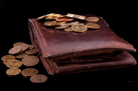 An image of brown leather wallet and polish coins zloty on it