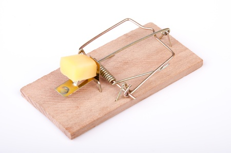 dead rat: An image of mouse trap isolated on white