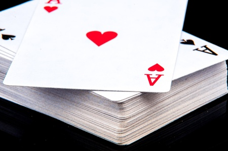 An image of playing cards, dice and money photo