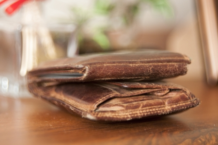 An image of brown leather wallet photo