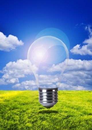 An image of sky inside lightbulb Stock Photo - 18894560
