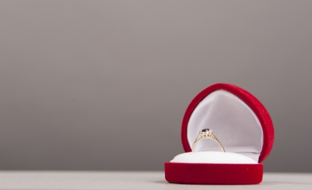 An image of engagement ring in red box photo