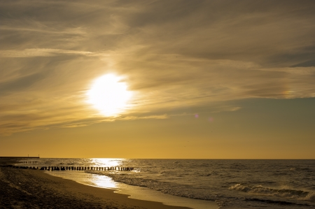An image of sunset over Baltic Sea photo